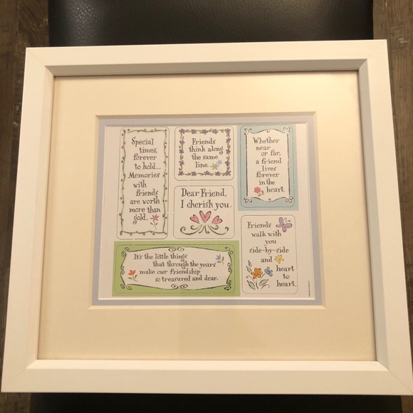 "Framed Picture Dear Friend I Cherish You 12"" x 11"""